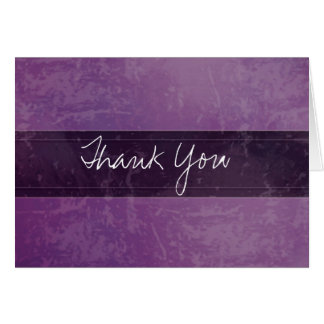 Trendy Grunge Marble Purple Thank You Card