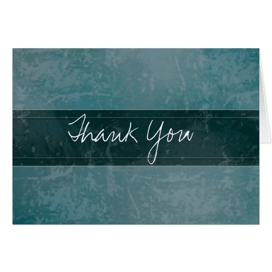 Trendy Grunge Marble Teal Thank You Card
