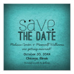 Trendy Grunge Save the Date Invite, Teal