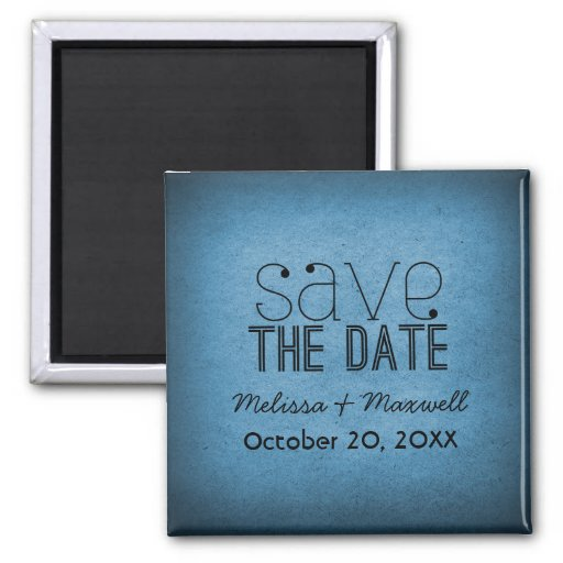 Trendy Grunge Save the Date Magnet, Blue