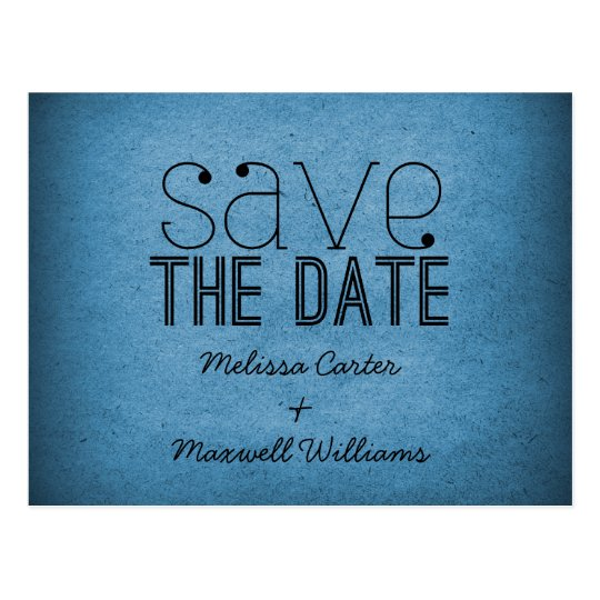 Trendy Grunge Save the Date Postcard, Blue Postcard