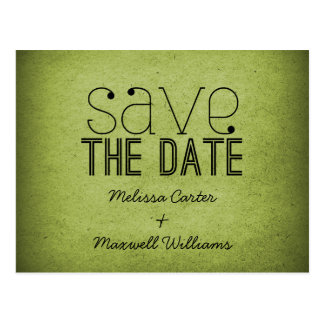 Trendy Grunge Save the Date Postcard, Green