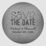 Trendy Grunge Save the Date Stickers, Gray