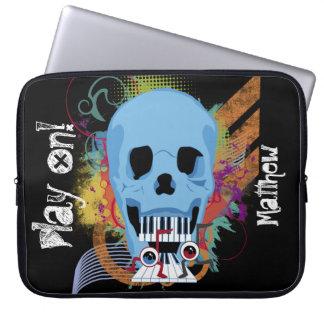 Trendy Grunge Skull Piano Music Laptop Sleeve