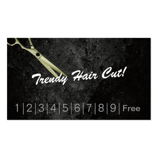 Trendy Hair Cuts Hair Salon Loyalty Punch Card Business Cards