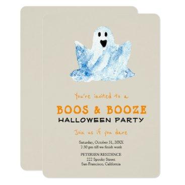 Halloween Themed Trendy Halloween simple boos & booze party Card