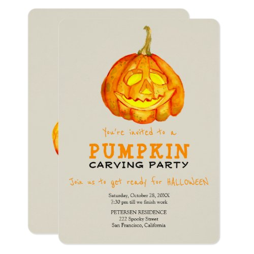 Trendy Halloween simple pumpkin carving party Invitation