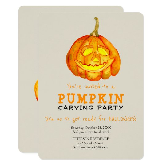 trendy halloween simple pumpkin carving party invitation zazzle com