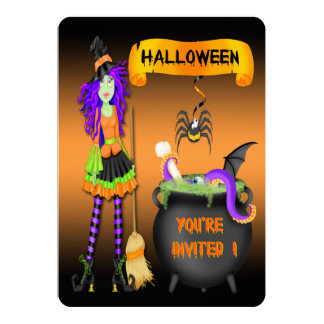 "Trendy Halloween Witch Cauldron 5""x7"" Invitations"