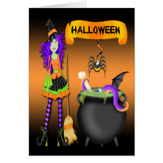 Trendy Halloween Witch Cauldron Greeting Card