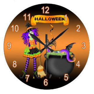 Trendy Halloween Witch Cauldron Round Wall Clock