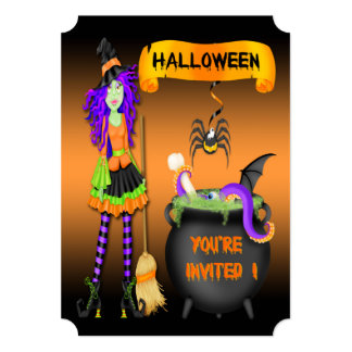 Trendy Halloween Witch Cauldron Ticket Style Invit Card