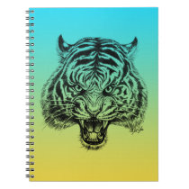 Trendy Hand Drawn Blue Yellow Tiger Notebook