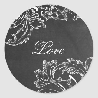 trendy hand drawn floral black board chalk effects classic round sticker