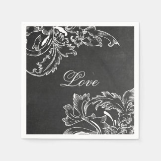 trendy hand drawn floral black board chalk effects paper napkins