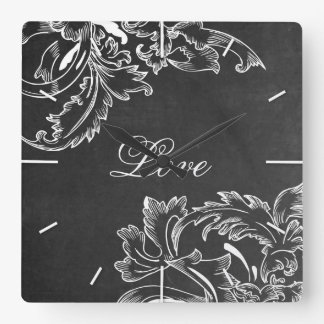 trendy hand drawn floral black board chalk effects square wall clock