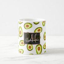 Trendy hand painted avocados watercolor pattern coffee mug