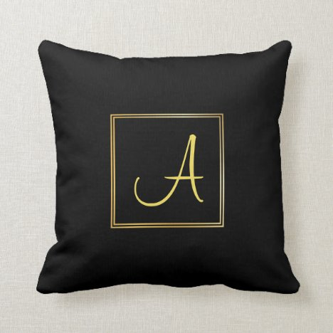 Trendy Hand Script Name A Black Gold Monogrammed Throw Pillow
