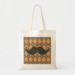 Budget Tote with Mustache Patterns design