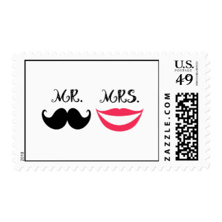 Trendy Handlebar Mustache Mr. & Mrs. Postage Stamp