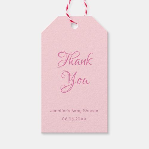 Trendy Handwritten Thank You Text Blush Pink Gift Tags