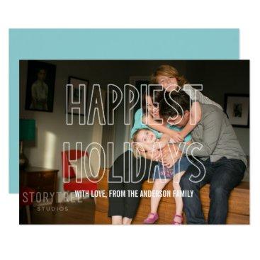 Beach Themed Trendy Happiest Holidays Overlay Photo Flat Card