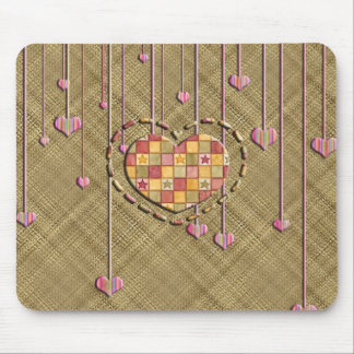 Trendy Heart on Basket Weave Mouse Pad