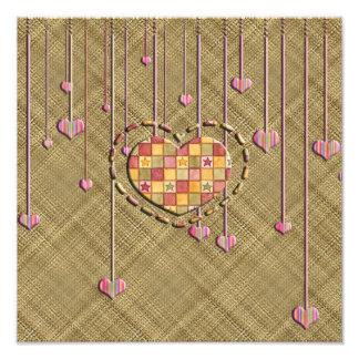 Trendy Heart on Basket Weave Art Photo