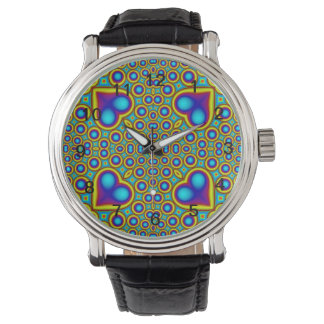 Trendy hearth and circle wristwatch