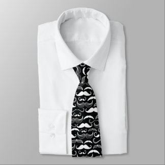 Trendy Hipster Black and White Mustache Pattern Tie