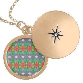 Trendy horizontal colorful pattern round locket necklace