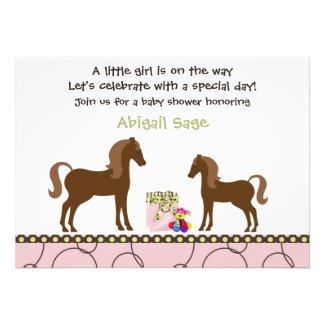 Trendy Horse Baby Shower Invitation for Girls