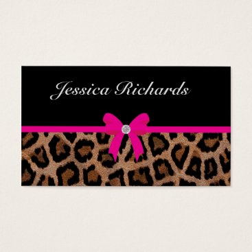 Professional Business Trendy Hot Pink and Black Leopard Bow Business Card