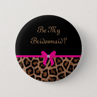 Trendy Hot Pink and Black Leopard Bow Button
