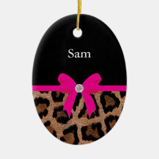 Trendy Hot Pink and Black Leopard Bow Ceramic Ornament