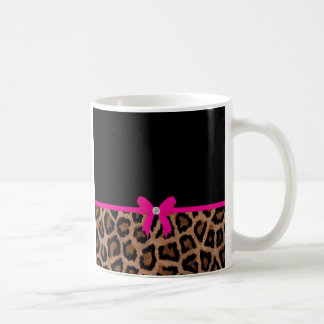 Trendy Hot Pink and Black Leopard Bow Coffee Mug