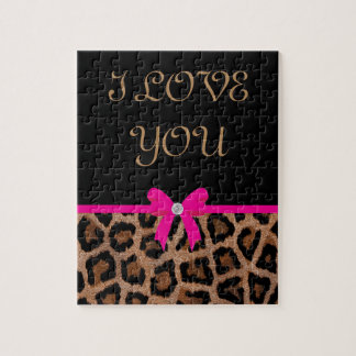 Trendy Hot Pink and Black Leopard Bow Jigsaw Puzzle