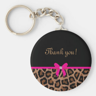 Trendy Hot Pink and Black Leopard Bow Keychain