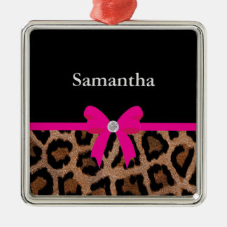 Trendy Hot Pink and Black Leopard Bow Metal Ornament