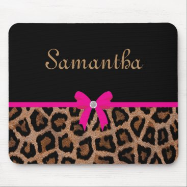 Toddler & Baby themed Trendy Hot Pink and Black Leopard Bow Mouse Pad