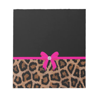 Trendy Hot Pink and Black Leopard Bow Notepad