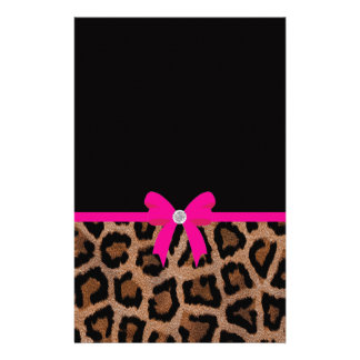 Trendy Hot Pink and Black Leopard Bow Stationery