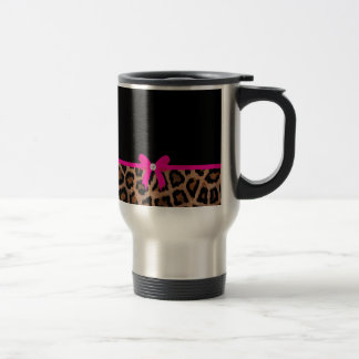 Trendy Hot Pink and Black Leopard Bow Travel Mug