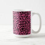Trendy Hot Pink and Black Modern Leopard Print Coffee Mug
