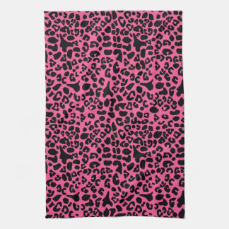 Trendy Hot Pink and Black Modern Leopard Print Hand Towels