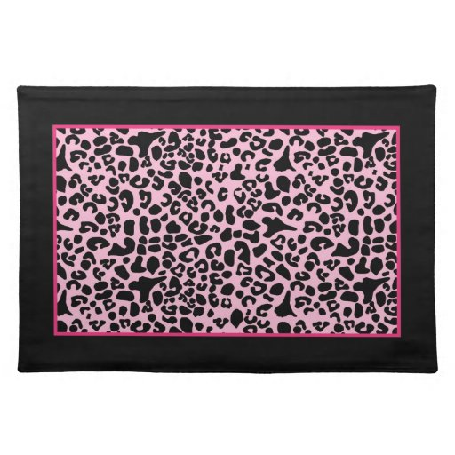 Trendy Hot Pink And Black Modern Leopard Print Placemat