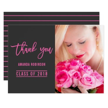 Professional Business Trendy Hot-Pink and Dark Grey Graduation Thank You Card