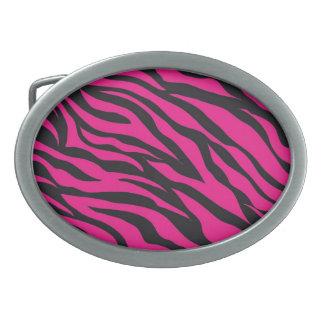 Trendy Hot Pink Fuchsia Black Zebra Stripes Print Oval Belt Buckles