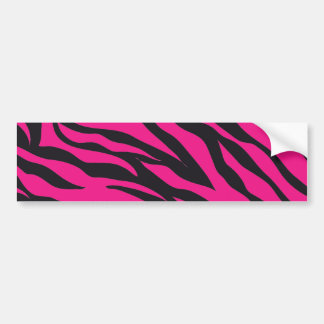 Trendy Hot Pink Fuchsia Black Zebra Stripes Print Bumper Sticker