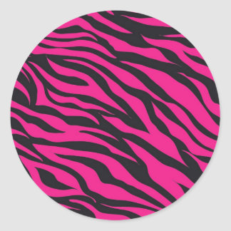 Trendy Hot Pink Fuchsia Black Zebra Stripes Print Classic Round Sticker